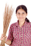 Broom with girl Royalty Free Stock Images