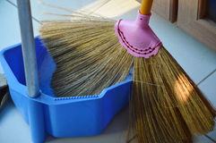 Broom grass flower and dustpan Royalty Free Stock Photos
