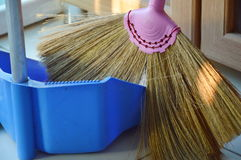 Broom grass flower and dustpan Royalty Free Stock Photography