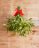 Broom from green mistletoe. On wood desk. Nature background. Christmas plant royalty free stock photos