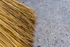 Broom on ground. Copy space broom cleaning ground Royalty Free Stock Images