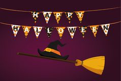 Broom with hat of a witch with flags and Letters and an inscription. Of a happy Halloween hang on clothespins on a rope. Vector. Festive garland. Greeting card Stock Photo