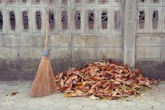 Broom and leaf pile Royalty Free Stock Photo