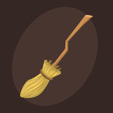 Broom made from twigs on long wooden handle vector illustration tool for cleaning witches broom stick halloween Royalty Free Stock Photography