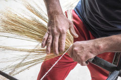 Broom making tradition in saxon village of Altana, Sibiu, Romani Stock Images