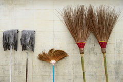 Broom and mop Royalty Free Stock Image