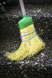 Broom outside on stairs Royalty Free Stock Photos
