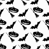 Broom and pumpkin bats monochrome seamless pattern vector illustration Royalty Free Stock Photo