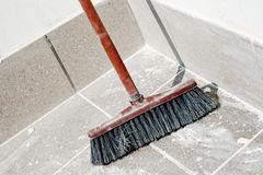 Broom ready for a sweep after make-over Stock Photo