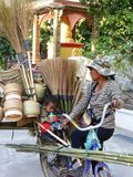 Broom Sellar in Vientiane  / Laos Royalty Free Stock Photo