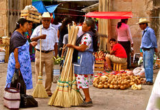 Broom Seller, Tlacolula market, Mexico Stock Photos
