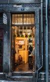 Broom shop in porto city of portugal stock photos