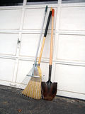 Broom, shovel and leave rake Royalty Free Stock Photos