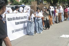 Broom Sticks Anti-Corruption Action The Schoolgirl Stock Image