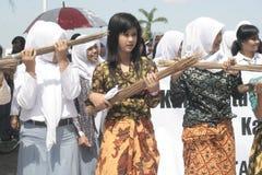 Broom Sticks Anti-Corruption Action The Schoolgirl Stock Photos