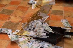 Broom sweep money in the scoop. Broom sweep a lot of dollar and euro bills in the scoop Stock Image