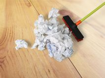 Broom. Sweeping Cleanup Messy Office Clean Cleaning Royalty Free Stock Image