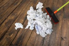 Broom. Sweeping Cleanup Messy Office Clean Cleaning Royalty Free Stock Photos