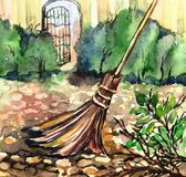 The broom sweeps in the yard stock illustration