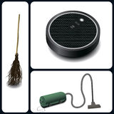 A broom, vacuum cleaner and robotic vacuum cleaner. Evolution of cleaning devices a broom, vacuum cleaner and robotic vacuum cleaner Royalty Free Stock Photography