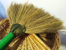 Broom and Wicker still life. Thailand broom on wicker still life Royalty Free Stock Photo