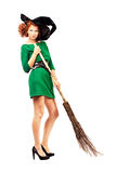 Broom and witch Stock Images