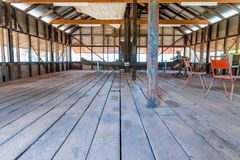 Historic shearing shed from days gone by royalty free stock image