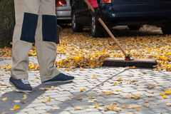 Brooming driveway from leaves Royalty Free Stock Image