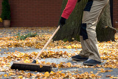 Brooming the leaves Royalty Free Stock Photos