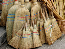 Brooms. Wooden brooms in the group Stock Images