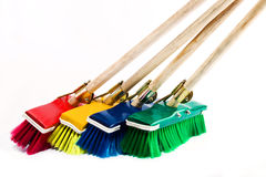 Brooms. Broom design elements, multicolor, household items series Royalty Free Stock Photos