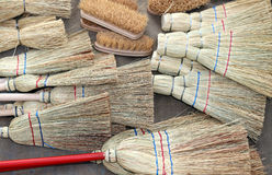 Brooms and brushes of sorghum. Many brooms and brushes of sorghum Royalty Free Stock Image
