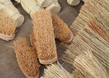 Brooms and brushes of sorghum at the market Stock Photography