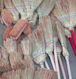 Brooms and brushes. Of sorghum in retail market Stock Images