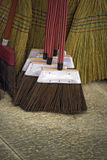 Brooms for sale in typical market of Brazil. Brooms of piassava and sorghum for sale in typical market of Brazil Royalty Free Stock Photos