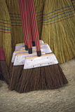 Brooms for sale in typical market of Brazil. Brooms of piassava and sorghum for sale in typical market of Brazil Stock Photos