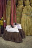 Brooms for sale in typical market of Brazil. Brooms of piassava and sorghum for sale in typical market of Brazil Stock Images