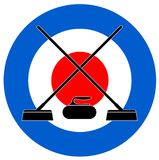 Brooms and stone for curling on Curling Royalty Free Stock Image