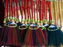 Brooms in a store. Photo of Brooms in a handicraft and home decor store Royalty Free Stock Photos
