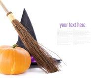 broomstick czarownica kapeluszowa dyniowa zdjęcie royalty free