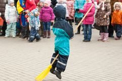 Broomstick running Stock Images