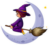 A broomstick with a witch near the moon Stock Photography