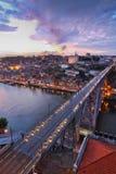 BroPonte dom Luis ovanför Porto, Portugal Arkivbild