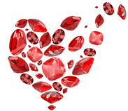 Broren heart symbol from red ruby gems on white Stock Photography