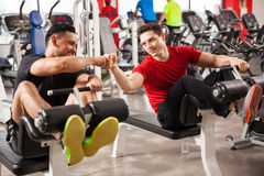 Bros working out together in a gym Stock Photography