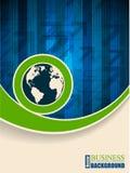 Broschüre des blauen Grüns mit Pfeilstreifen Stockbild
