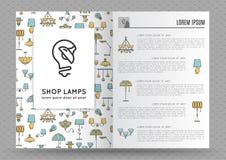 Broschüre für Shoplampen, Lampenikone stock abbildung
