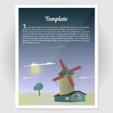 Broschüre, Flieger mit einer Windmühlenvektorillustration Lizenzfreie Stockfotografie