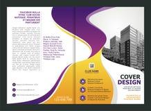 Broschüre, Flieger, Schablonen-Design mit purpurroter und gelber Farbe lizenzfreie abbildung