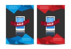 Broschüre mit Handyschablone Stockfotos